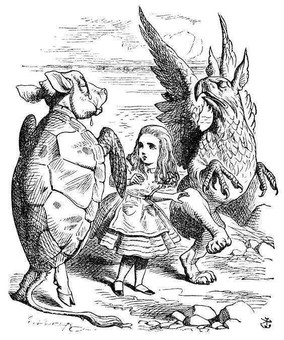 在《爱丽丝漫游奇境》中,坦尼尔把动物拟人,或把人类拟物,夸张魔幻的