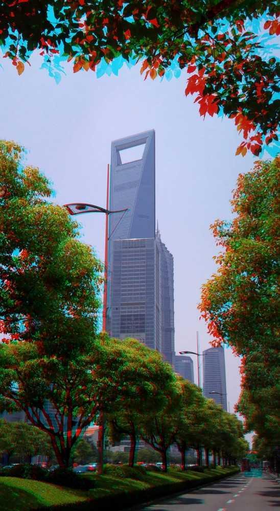 红蓝3d立体图片:路边的风景