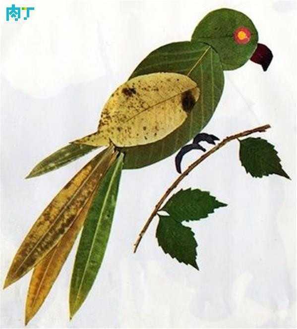 热门   利用树叶可以做很多风景,动物,器物的粘贴画.